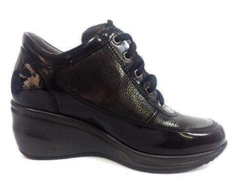 R0576 NERO/ANTRACITE Scarpa donna sneaker zeppa con cerniera Melluso pelle made in Italy