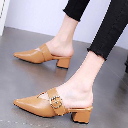 KPHY-Verano 5 Cm Zapatos De Tacon Alto Moda Rough Heels Zapatillas Sexy Baotou Desgaste Salvaje Medio Y Hembra Arrastrando. Khaki