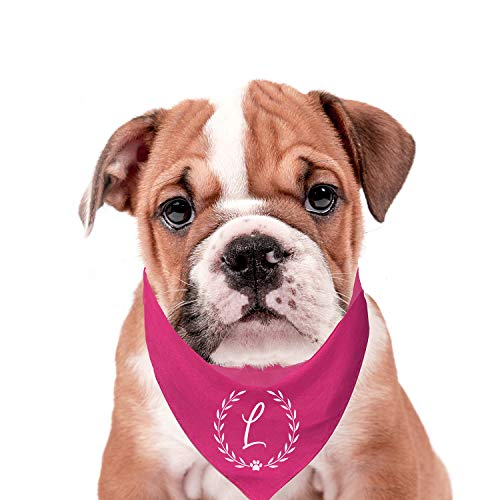 Personalized Custom Monogram (A-Z) Fashion Printed Dog Bandana- One Size Fits Most (Four Colors) ()