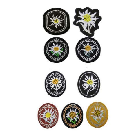 9pcs WWII German Mountain Troops Edelweiss Military Patch Fabric Embroidered Badges Patch Tactical Stickers for Clothes with Hook & Loop by Tactical Embroidered Patch