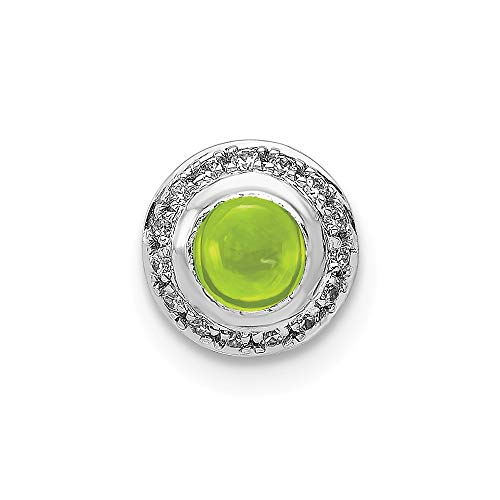 14k White Gold Diamond With Cabochon .47 Peridot Chain Slide Pendant from Roy Rose Jewelry
