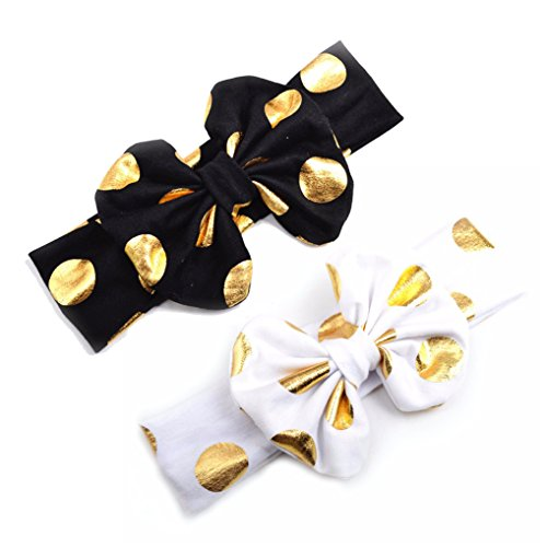 Cotton Baby Girls Big Bow Headband with Gold Polka Dot Bronzing kids Knotted JA600 (Black White) -