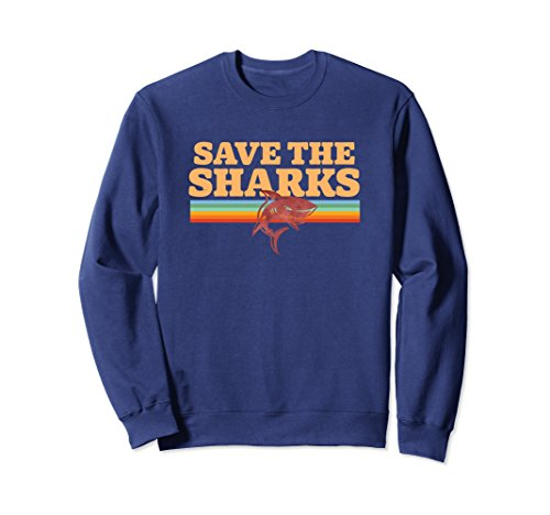 Unisex Retro Vintage Shark Save The Sharks Awareness Sweatshirt XL ()