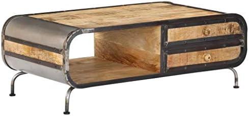 100% Origineel Tidyard salontafel (met 2 laden + 1 vakken) van massief mangohout, handgemaakt, industriële stijl, 100 x 50 x 35 cm  oanFVMe