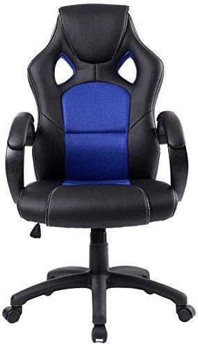 BTEXPERT Executive PU Leather High-Back Swivel Racing Office Chair Ergonomic Gaming Computer Desk Bucket Seat Tilt, Height Adjustment Headrest Lumbar Support, Blue