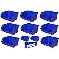192 cajas apilables, color azul, tamaño 1 (102 x 96 x 52 mm)
