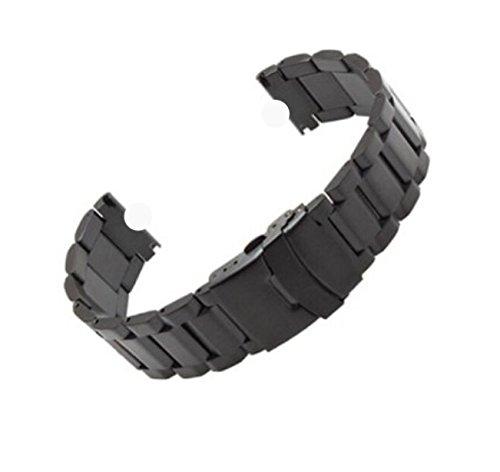 Demomm(tm) Deluxe Stainless Steel Metal Bracelet Watchband Strap Wristband for Motorola Moto 360 Smartwatch (Black)