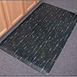 """Anti Fatigue Mat: Marbleized Tile Top 36''x60''x1/2"""" Single Sponge, color: solid black"""