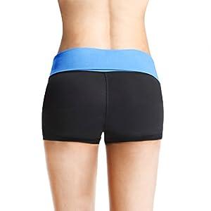 Baleaf Women's Workout Yoga Running Boy Cut Foldover Shorts Inner Pocket Little Boy Blue Size M