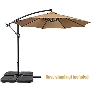 Patio Umbrella Offset 10u0027 Waterproof Polyester Heavy Duty Fabric Outdoor  Market Umbrella New Beige