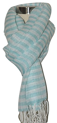 Mad Linen - Mad Max Hand Spun, Handwoven Pure Flax Linen Fabric Striped Scarf, Wrap. X1226