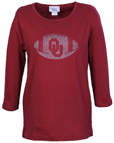 NCAA Oklahoma Sooners Women's Crew Neck 3/4 Sleeve Top With Rhinestone OU Football, Small, - Sleeve Football 3/4