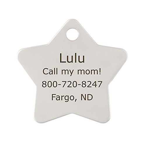 Personalized Laser Engraved Double Sided Nickel Star Dog ID Tag - Includes Matching S-Hook and Split Ring by dogIDS