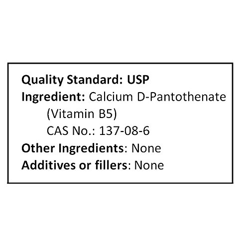 NuSci Calcium D-Pantothenate Vitamin B5 1000 Grams (2.2 lb, 35.2 oz) Pure Powder