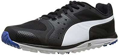 PUMA Men's Faas Xlite Golf Shoe, Black/White/Strong Blue, 8.5 M US