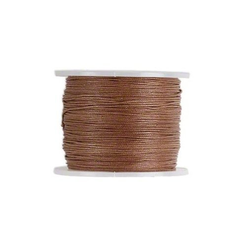 Waxed Cotton Cord Cord Light Brown 0.5mm. Spool of 100 meters / 109.3 Yards.