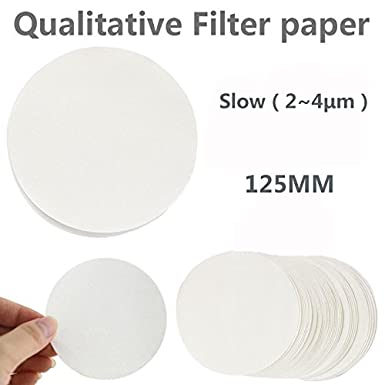 125mm Diameter Slow(2~4/μm) Filter Paper MS Lab Supply Ashless Quantitative Filter Paper Pack of 100 Slow/(2~4/μm/) Membrane Solutions Corp