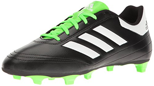 adidas Performance Men's Goletto VI Firm Ground Soccer Shoe, Black/White/Solar Green, 7.5 M US (White Cleats Green And Soccer)