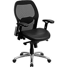 Mid-Back Black Super Mesh Executive Swivel Chair with Leather Seat<li/><li> Knee Tilt Control and Adjustable Arms