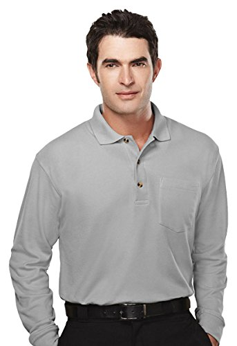 Tri Mountain Men's Golf Cut Big and Tall Polo Shirt (Double Pockets Long Sleeve)