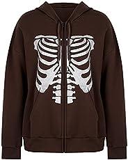 Tophoopp Hoodies for Women Oversized, Women's Zip Up Hoodie Print Y2K Jacket Baggy Loose Basic Zipper Hood