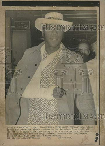 Historic Images - 1972 Vintage Press Photo Willie McCovey Of The San Francisco Giants, Arm In Sling