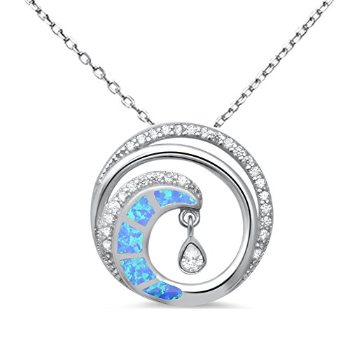 Oxford Diamond Co Sterling Silver Lab Created Blue Opal Cubic Zirconia Wave Swirl Beach Pendant Necklace with Chain 18