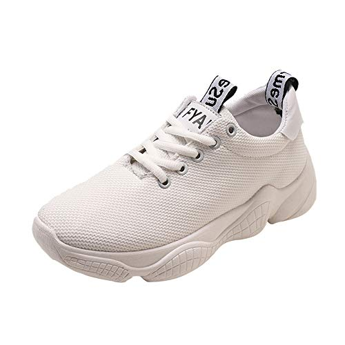 Breathable Soft Soles Platform White Sports Shoes Women Comfortable Fashion Shoes Solid Lace Casual Sneakers Running Walking Girls Jogging Women Vovotrade Sports up Mesh Shoes 58qAT
