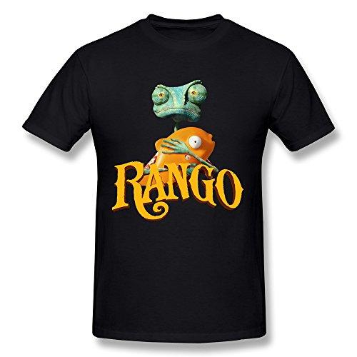 Konoyie Men's Cartoon Rango T-Shirt - Vintage T Shirt Black US Size XXL