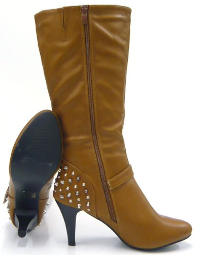 Damen Schuhe klassische Stiefel Boots designer Nieten Braun