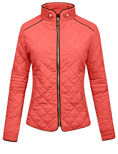 Embroidered Womens Quilted Vest - J. LOVNY Womens Lightweight Quilted Warm Zip Jacket/Vest with Pocket Details