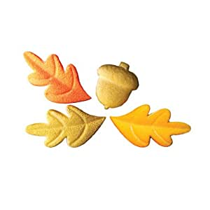 Thanksgiving Acorns Oak Leaves Decorations Cookie Cupcake Cake 12 Count