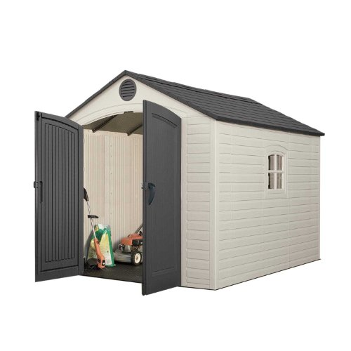 Image of Lifetime 6405 Outdoor Storage Shed with Window, Skylights, and Shelving, 8 by 10 Feet