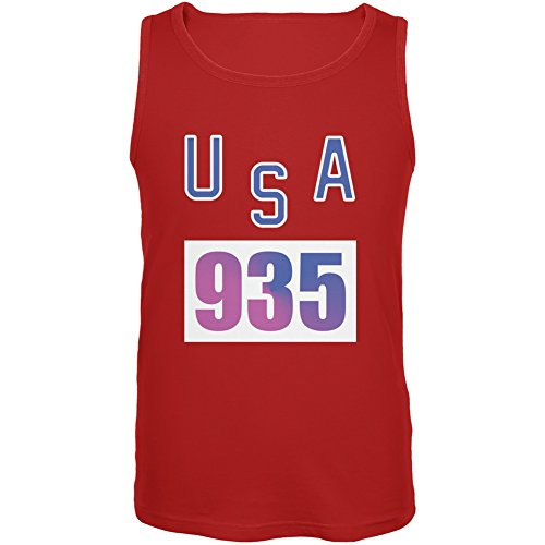 Bruce Jenner Costume (Team Bruce Jenner USA 935 Olympic Costume Red Adult Tank Top - Small)