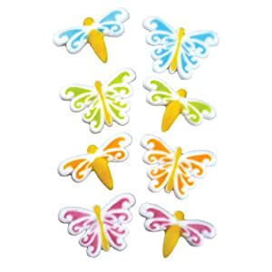 Lucks Dec-Ons Molded Sugar Cake Topper, Butterfly and Dragonfly Assortment, 1 5/8 - 1 3/4 Inch, 80 Count