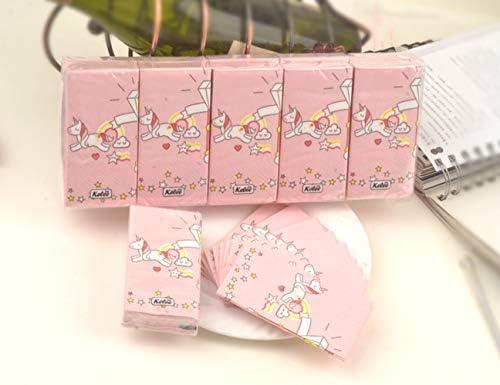 EPRHAY 100 Stück Einhorn Taschentücher Papier 3 Schichten rosa Servietten Mini-Tasche Papier Tragetasche Toilettenpapier Restaurant Catering Papier 10er Pack