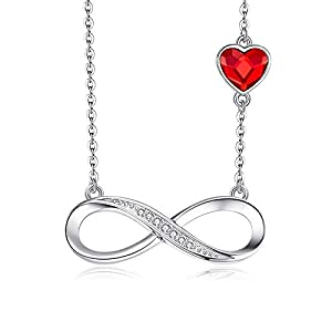 L&S, Sterling Silver Infinity Love with Crystal Heart from Swarovski Necklace for Women, Girls
