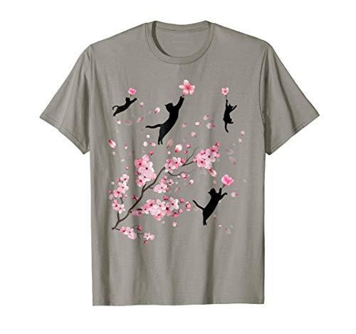 Cherry Blossom Cat T-Shirt Gift For Men Women Cat Lovers
