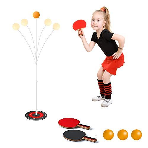 TAOPE Entrenador de tenis de mesa con 2 ejes blandos elásticos de ocio de ping-pong,deportes de descompresión para principiantes y niños, uso en interiores o exteriores,juego de bate de tenis de mesa