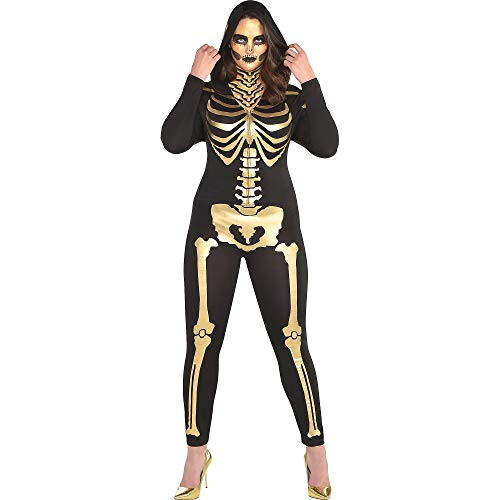SUIT YOURSELF 24 Carat Bones Skeleton Halloween Costume for Women, Plus Size, with Attached Hood -