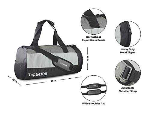 41wBuCY38RL TopGator Gym Bag Sports Duffel with Shoe Compartment 34 L (Grey/Black)