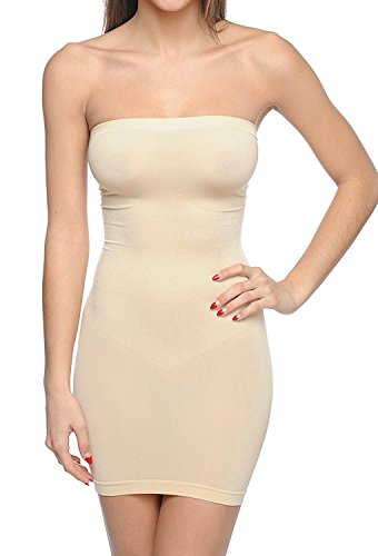 Body Beautiful Strapless Full Body Slip Shaper Nude - Shaper Body Nude Full