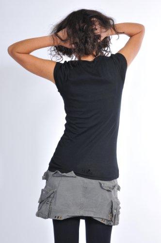 hadas de 3elfen Goa negro camisa cuello mujer de Top ropa Om Yoga manga de corta con verano de redondo camisa aZqWaR4