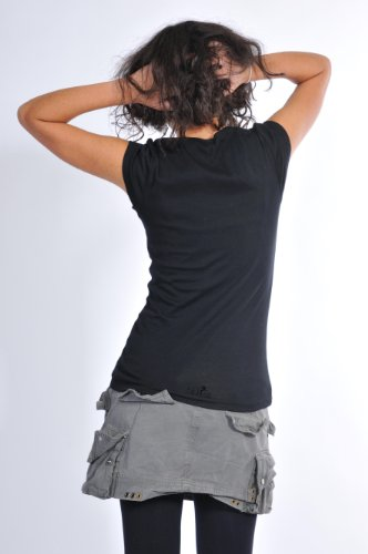 Top 3elfen mujer Hada con redondo Prenda Camisa pradera corta para Mujer Camiseta manga Cuello Negro de Tdrd6q