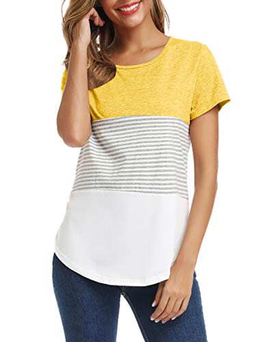 LATWIIV Women's Color Block Tshirts Blouse Short Sleeve Casual Tee Shirts Tunic Tops Yellow S