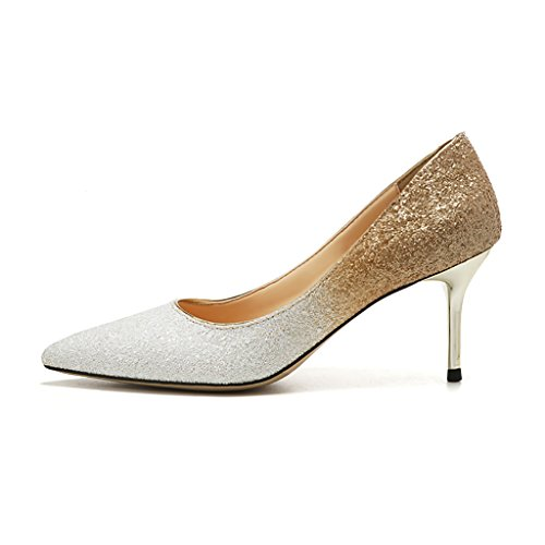 a da cristallo sera Scarpe sposa in scarpe alto abito col sposa scarpe paillettes scarpe WENJUN donna per con punta da da tacco FqY44v