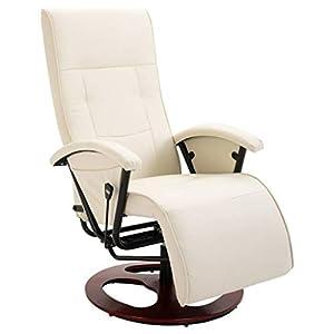 vidaXL Fauteuil TV Pivotant Chaise de Relaxation Fauteuil Relax Dossier Réglable Salon Salle de Séjour Maison Intérieur…