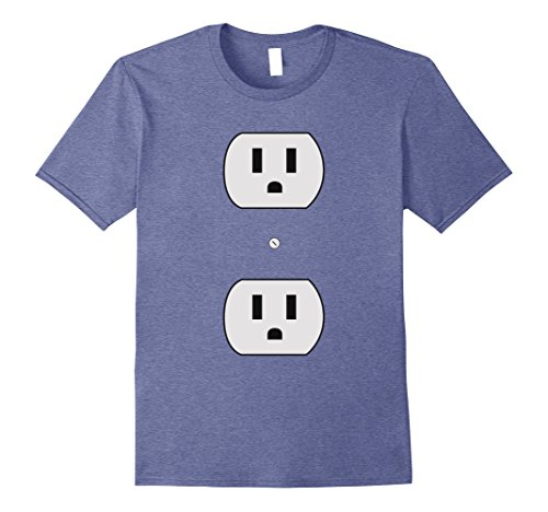 Mens Super Simple Easy Halloween Costume - Electrical Outlet Plug Large Heather Blue