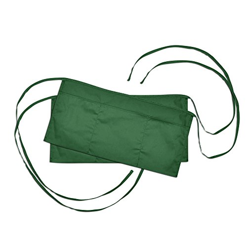 (Waist Aprons Commercial Restaurant Home Bib Spun Poly Cotton Kitchen (3 Pockets) in Dark Green 2 Pack)