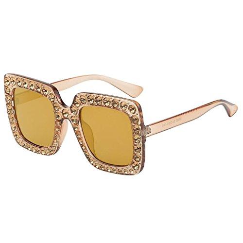 Perman Fashion Women Sunglasses, Artificial Diamond Cat Ear Quadrate Metal Frame Brand Classic - Cat Ear Glasses